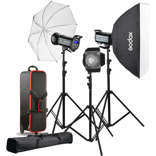 "3 x Godox QS400II Flash Head Limited 1-Year B&H Warranty Godox XT-16 Wireless Power-Control Flash Trigger 2.4G (Transmitter and Receiver) Limited 1-Year B&H Warranty Godox Reflector Umbrella (Black/White, 33"") Limited 1-Year B&H Warranty Godox CB-06 Hard Carrying Case with Wheels Limited 1-Year B&H Warranty Godox CB-03 Light Stand and Tripod Carrying Bag (Black, 40.9"") Softbox: 31.5 x 39.4"" 3 x Light Stands Barndoor Set Standard Reflector"